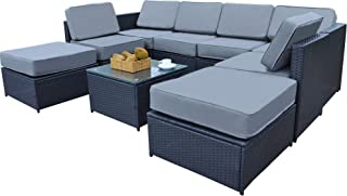 MCombo Patio Furniture Sectional Wicker Sofa Set All-Weather Outdoor Black Rattan Conversation Chair Set with Thick Cushions(5.12Inch) and Tea Table Black 6085-1009EY