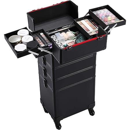 Boîte Cosmétique Case,maquillage Trolley Coffre à Bijoux Malette Esthétique 4en1