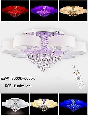 54 W RGB cristal – Lámpara LED de techo (6 focos lámpara de techo ...