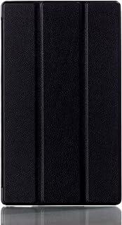 【Trocent】Sony Xperia Z3 Tablet Compact ケース スタンド機能付き 三つ折 スマートカバー 超薄型 内蔵マグネット開閉式 PUレザーカバー 保護ケース (Z3 Tablet, 三つ折ブラック)