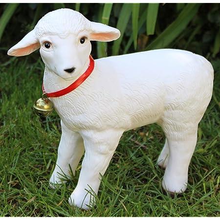 Deko Figur Gartenfigur Tierfigur weißes Lamm Lämmlein aus Kunststoff Höhe 28 cm