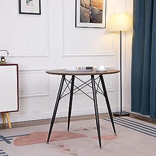 H.J WeDoo Ronde Table de Salle à Manger Scandinave Design Table de Cuisine avec Cadre et Pieds en Métal Noir, Plateau en M...