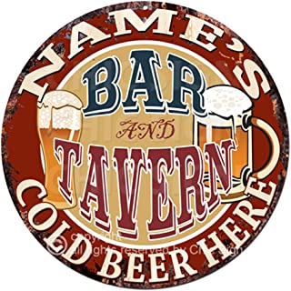 Any Name's BAR and Tavern Cold Beer Here Custom Personalized Chic Tin Sign Rustic Shabby Vintage Style Retro Kitchen Bar Pub Coffee Shop Man cave Decor Gift Ideas