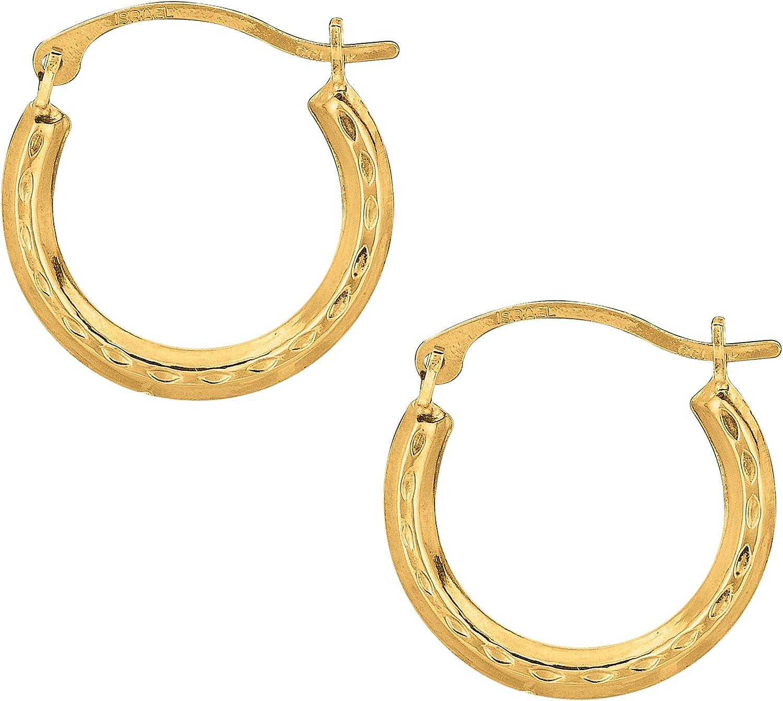 10k Yellow Gold Shiny Diamond Cut Round Hoop Earrings, Diameter 15mm
