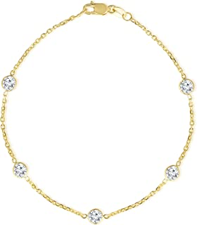 Floreo 14k Yellow Gold Round Cubic Zirconia (4mm CZ) Cable Anklet and Bracelet