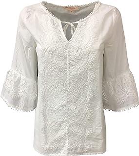 LA FEE MARABOUTEE Blusa Donna Ecru con Pizzo MOD FB3689 100% Cotone Made in Italy