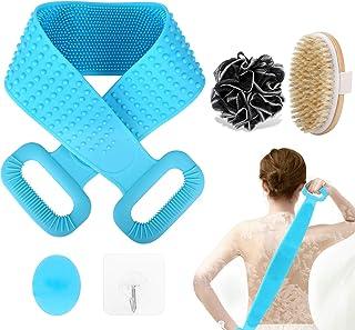 cepillo para polvo de baño de silicona de 76 cm para la parte trasera del cuerpo de la ducha, juego de cepillos de baño y ...
