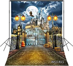 LB Halloween Backdrops for Photography Pumpkin Castle Photo Background for Kids Adults 6x9ft Brick Wall Halloween Party Photo Photoshoot Props Seamless Fabric Washable