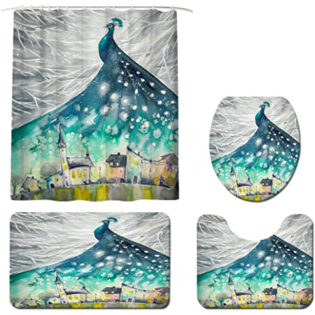 Peacock Shower Curtain Sets With Rugs And Toilet Cover Bath Mat 4 Piece Set Classical Decorative Beautiful Vintage Painted Feathers Waterproof Polyester Cloth Fabric Bathroom Decor Set With Hooks Furniture Decor