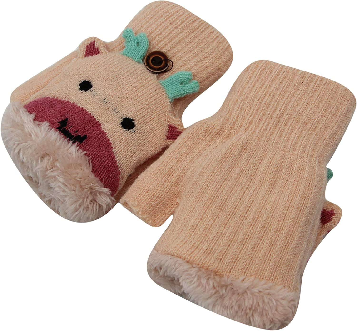 Toddlers Winter Thermal Gloves with Convertible Flip Top Mittens Cover Kids Cute Owl Fingerless Gloves for Girls Boys