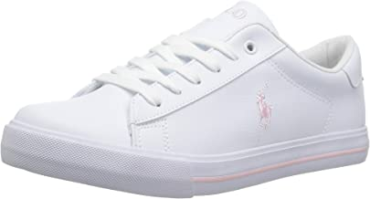 POLO RALPH LAUREN Kids Girls' Easton II Sneaker, White Tumbled Light Pink pop, 4.5 Medium US Big Kid