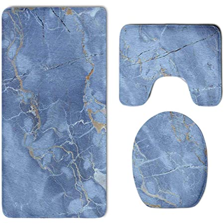 Non Slip Modern Marble Grain Bathroom Mat Rug Lid Toilet Cover /& Bath Mat 3 PCs