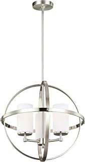 Sea Gull Lighting 3124603-962 Alturas Three-Light Chandelier with Etched White Inside Glass Shades, Brushed Nickel Finish