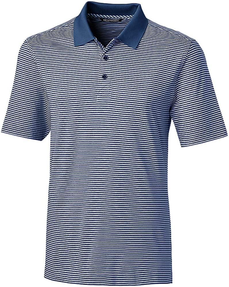 Cutter & Buck Men's Big and Tall Moisture Wicking Drytec UPF 50 Forge Tonal Stripe Polo Shirt