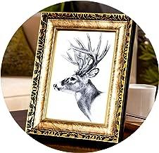 sensitives 4 Colors Quality Vintage Photo Frame Gold Picture Frame Europe Home Decor Retro Wedding Pictures Frames Gifts Desk Decoration,Bronze,7 inch
