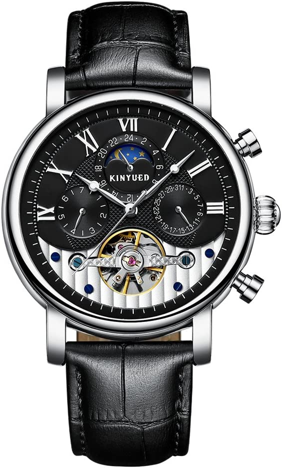 milageto Reloj Mecánico Automático KINYUED Skeleton Moon Phase Waterproof 3ATM Watch - Color 4