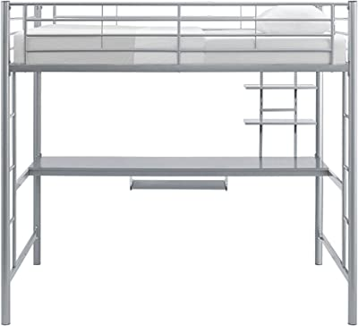Amazon Com Dorel Living Harlan Wood Loft Bed With Ladder