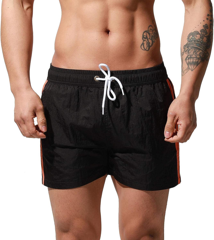 DESMIIT Men's Quick-Dry Gay 80's Short Board Shorts Beachwear Striped Old-Fashioned