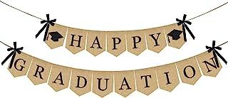 Burlap Happy Graduation Banner | Rustic Vintage Graduation Decorations | Perfect for Graduation Party Supplies 2020 | Grad Party Decor for Home, College, Senior, High School Prom Decorations
