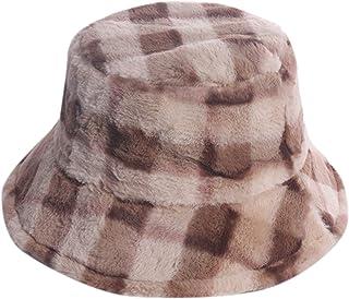 ChezAbbey Bucket Hat Women's Faux Fur Hats Teddy Style Winter Hat Fisherman Hat Warm Windproof Hat for Women for Girls