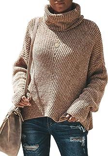 Yskkt Womens Plus Size Turtleneck Sweaters Batwing Sleeve Oversized Loose Knit Pullover Jumper