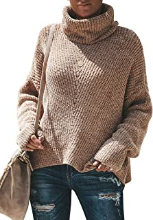 Yskkt Womens Plus Size Turtleneck Sweaters Batwing Sleeve Oversized Loose Knit Pullover Jumper