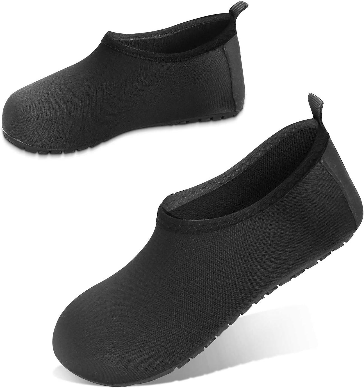 JOTO Water Shoes Beach Socks for Kids Toddler Baby Girls Boys, Barefoot Quick-Dry Non-Slip Swim Socks Aqua Water Shoes for Beach Swimming Pool Water Park -Black