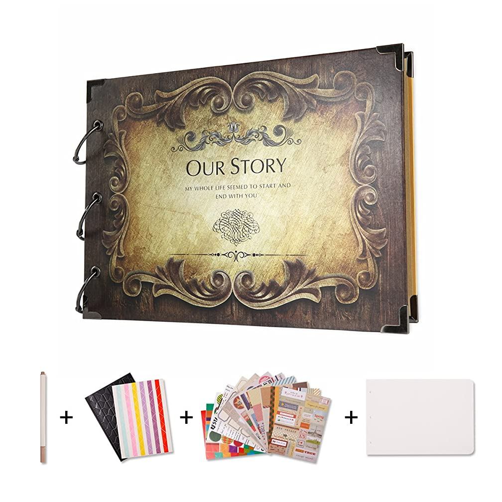 SICOHOME Scrapbook,Our Story Scrapbook Album for Gifts and Wedding Guest Book