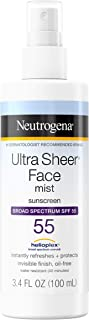 Neutrogena Ultra Sheer Face Mist Sunscreen Spray SPF 50 with Helioplex, Oxybenzone-Free Spray Sunscreen is Non-Comedogenic, Lightweight, Water-Resistant & Oil-Free, Travel Size, 3 fl. oz