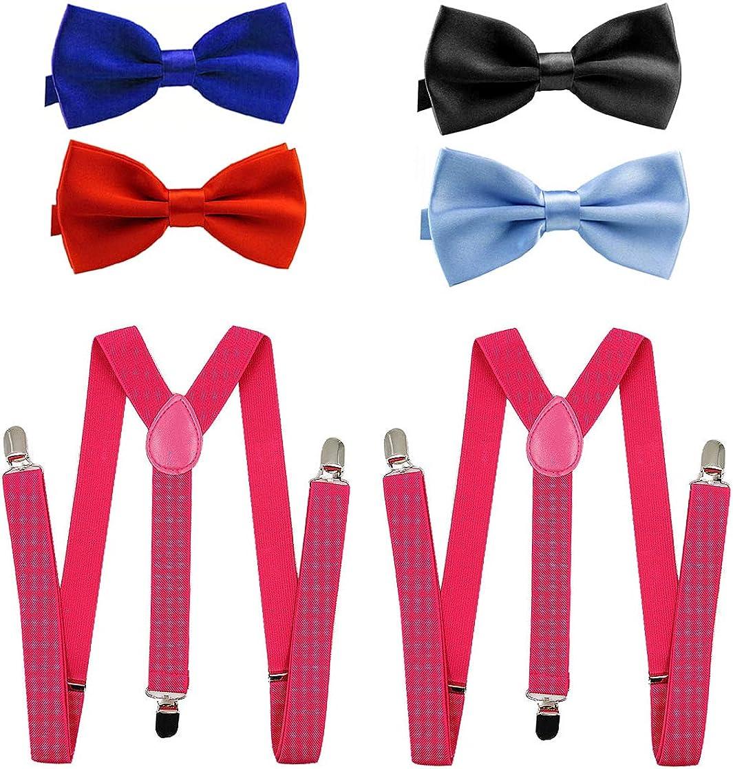 Solid Color Mens Suspender Bow Tie Set Strong Clips Adjustable Braces- Customizable Set