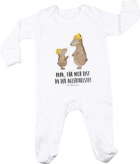 Mr. & Mrs. Panda Mr. & Mrs. Panda Mädchen, Geschenk, 6-12 Monate Baby Strampler Bären mit Hut mit Spruch - Farbe Weiß