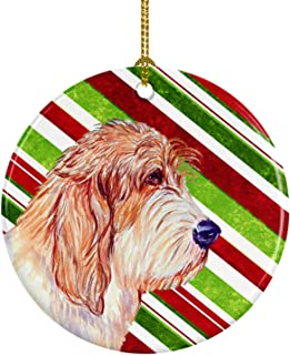 Caroline's Treasures LH9262-CO1 Petit Basset Griffon Vendeen Candy Cane Holiday Christmas Ceramic Ornament, Multicolor
