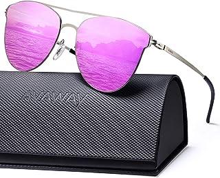 30e500148f AVAWAY Moda de Metal Clásico Marco Gafas de Sol Mujer Espejo Lente con  protección UV400,