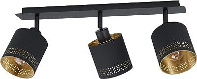 EGLO Plafonnier Esteperra - 3 ampoules - Style vintage - Rétro - En acier et textile - Pour salon - Noir, doré - Avec douille E27