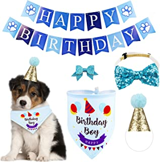 GAGILAND Dog Birthday Bandana Hat Banner Set Dog Boy Girl Cute Bow Tie Scarf Birthday Party Supplies Decorations