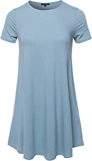 Awesome21 Women's Solid Relaxed Fit V-Neck Short Sleeve Basic Tee