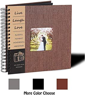 DIY Scrapbook Photo Album 80 Pages Burlap Cover Album Craft Paper Album, 10 x 10 Inches, with Photo Album Storage Box Perfect Gift for Anniversary, Valentines ect!