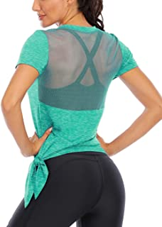 ICTIVE Women's Workout Tops Short Sleeve Mesh Back Side Tie Workout Tank Tops