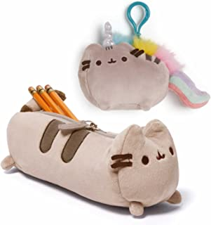 Gund Set of Pusheen Accessory Case and Pusheenicorn Backpack Clip Plush, School Office Accessories for Students Teens Boys and Girls