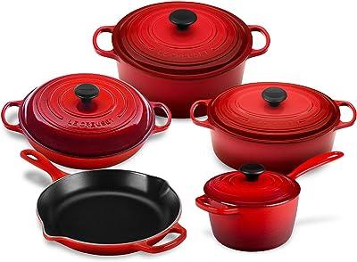 Le Creuset 9-piece Signature Cast Iron Cookware Set, Cerise (Cherry Red)
