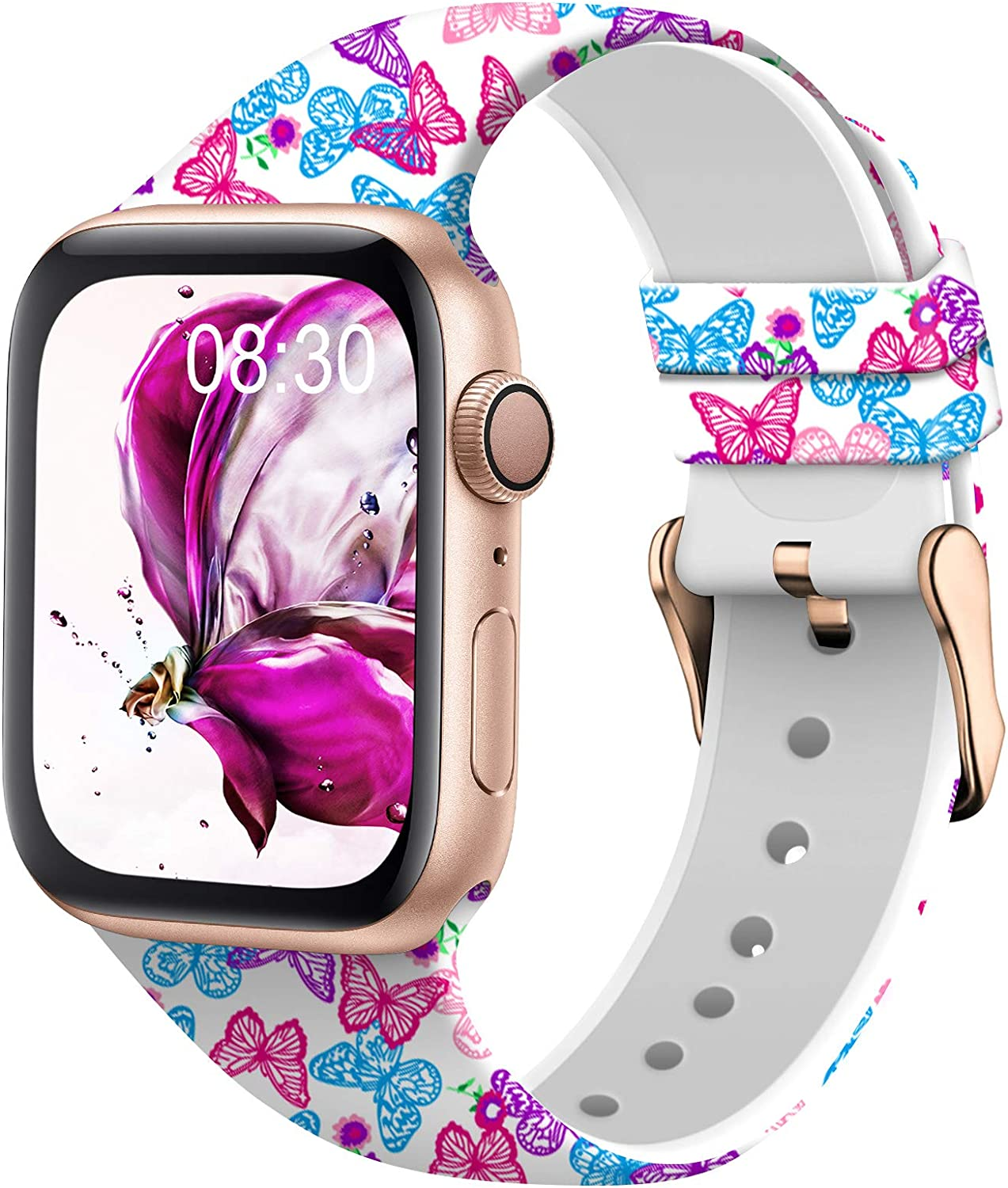 TSAAGAN Silicone Pattern Printed Band Compatible for Apple Watch Band 38mm 42mm 40mm 44mm, Floral Soft Sport Replacement Strap Wristband for iWatch Series 6/5/4/3/2/1 (Butterfly, 38mm/40mm)