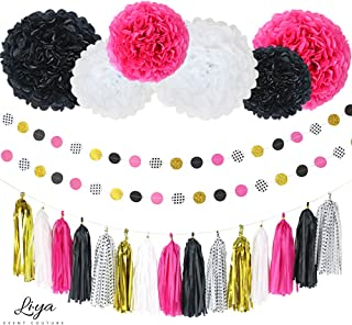 Li?ya Party Decorations - 15 Tassels, 6 Paper Pom Poms, 2 Circle Garlands; perfect for Bridal Showers, Bachelorette, Wedding and Birthday Parties; Pink, Gold, Black, White, Polka Dots