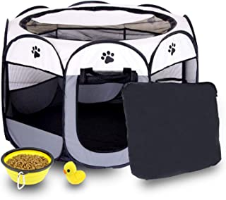 Care4U Dog Cage, Dog Playpen, Portable Foldable Dog Pen with 3 Giveaways, Water Resistant Shade Cover, Puppy Playpenï¼...