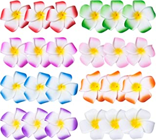 24 Pack Hawaiian Plumeria Flower Hair Clip, Plumeria Flower Hair Foam Hawaii Hair Clips, Vacation Outfit, for Bridal Wedding, Party, Beach, for Girls Teens Kids Adults, 2.5 Inch