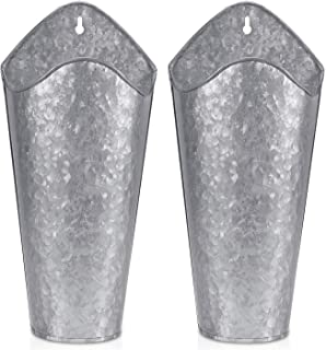 Biewoos Galvanized Metal Wall Planter (2 Sets), Farmhouse Style Hanging Wall Vase Planters for Succulents or Herbs,Wall Planters for Country Rustic Home Wall Decor