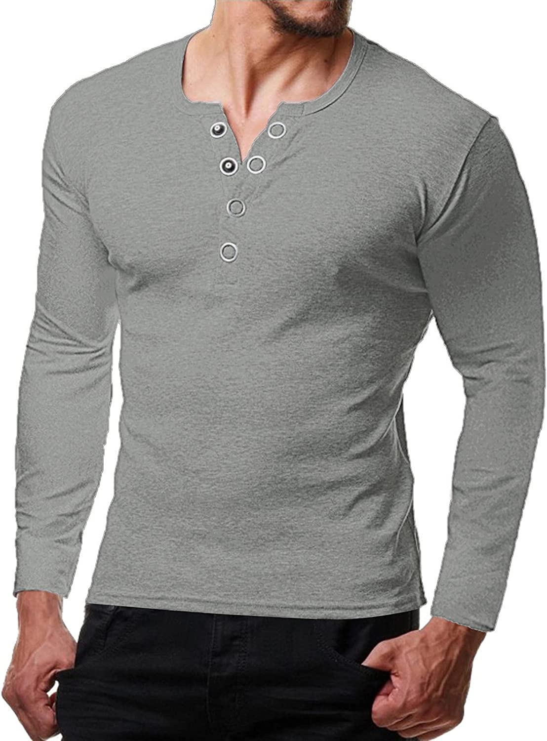 FUNEY Mens Casual Slim Fit Basic Henley Long Sleeve Fashion T-Shirts Cotton Muscle V Neck Sport Plain Shirt with Button