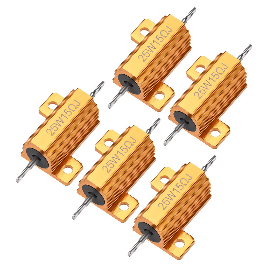 Cheap mail order specialty store uxcell 25W 15 Ohm 5% Aluminum Screw Tap Max 64% OFF Chassis Resistor Housing