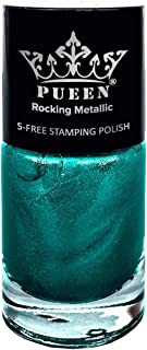 Pueen Rocking Metallic Nail Polish For Nail Stamping Big 5 Free Formula Nail Color Lacquer (611 Mexicali Turquoise)