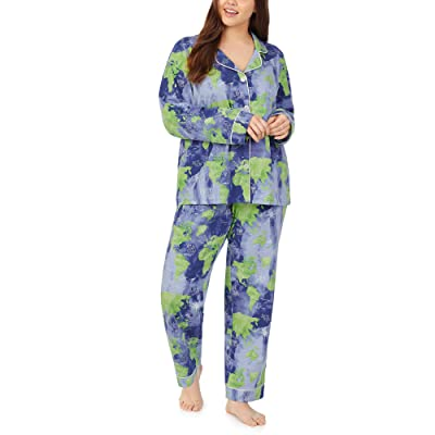 BedHead Pajamas Plus Size Long Sleeve Classic Notch Collar Pajama Set (Mother Earth) Women