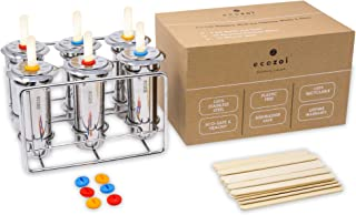 Ecozoi Stainless Steel Ice Popsicle Molds and Rack - 6 Round Ice Pop Makers + 30 Reusable Bamboo Sticks + 12 Silicone Seals + 1 Rack | Reusable, Sustainable, Eco Friendly